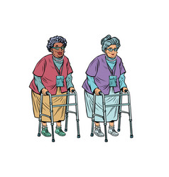 African and caucasian old ladies with walker vector