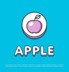 apple colour icon in line design vector image vector image