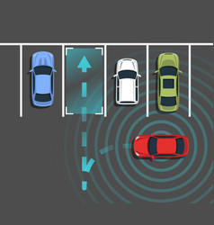 Autonomous car parking top view vector