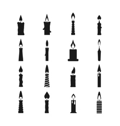 Birthday candle black icons isolated on vector
