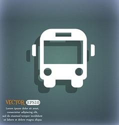 Bus icon symbol on the blue-green abstract vector