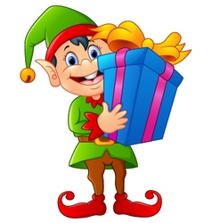 cartoon elf holding gift box vector image vector image