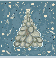 cartoon winter merry christmas tree with funny vector image