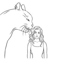 Cat licks girl coloring book vector