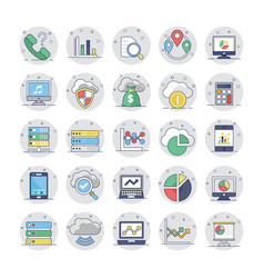 cloud computing flat colored icons 2 vector image vector image