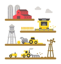 Farm land machineries flat design vector