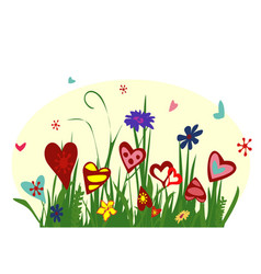 Field of blooming hearts on yellow background vector