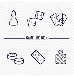 Games linear icons chess dice cards checkers vector