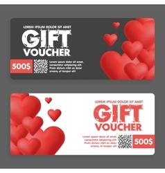 Gift vouchers with colored hearts great for vector