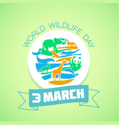 greeting card world wildlife day vector image vector image