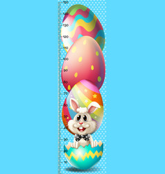 Growth mearsuring chart with easter bunny vector