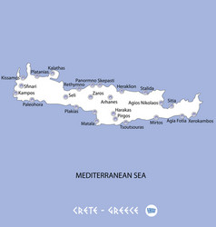Island of crete in greece white map and blue vector