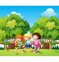 Kids playing outdoor during daytime vector