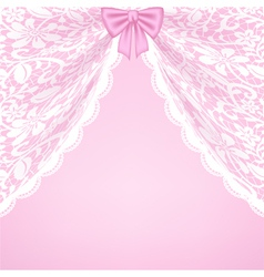 Lace curtains and bow vector image vector image
