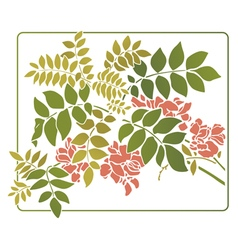 leaves with red flowers vector image vector image
