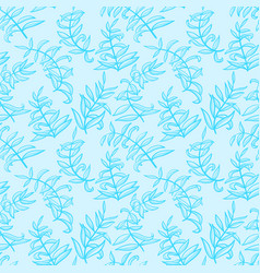 line art seamless pattern with plants doodle vector image vector image