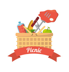 Picnic basket food fork grill vector
