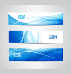 Set of abstract blue wavy headers water vector