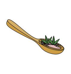 Spa spoon with sea salt vector