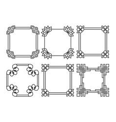 Square asian retro frames set vector