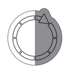 Sticker silhouette circular arrow icon vector