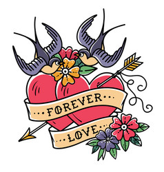 Tattoo forever love two hearts pierced by arrow vector