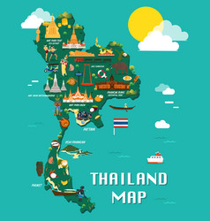 Thailand map with colorful landmarks design vector