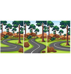 Three scenes of park with empty roads vector
