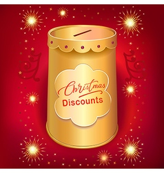 Xmas discounts holiday moneybox tin can template vector image