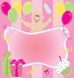 baby girl birthday invitation vector image