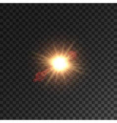 Light of sun star with lens flare effect vector