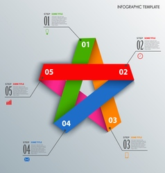 Info graphic with colorful folded paper star vector