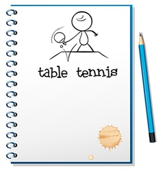 A notebook with a sketch of a table tennis player vector image
