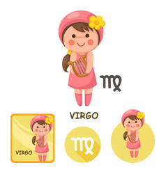Virgo collection zodiac signs vector