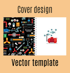 Cover design with machinery industrial pattern vector