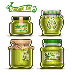 avocado jam in jars vector image