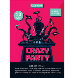 music party poster with octopus dj and mixing vector image