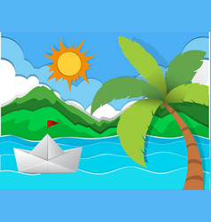 Paper boat floating in the sea vector