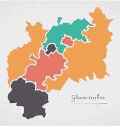 Gloucestershire england map with states and vector