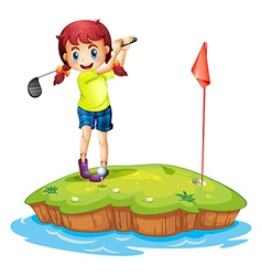 An island with a girl playing golf vector image