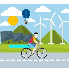 Renewable energy concept Solar and wind energy vector image