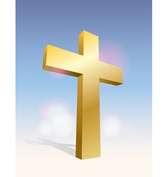 Golden cross in the sky vector