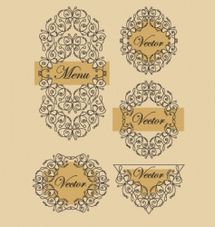 set Victorian butterfly frames vector image