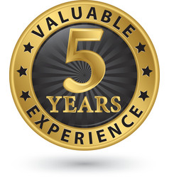 5 years valuable experience gold label vector