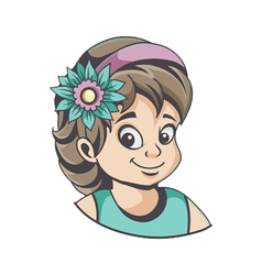 Girl with flower in hair vector