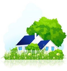 ountry house in grass vector image