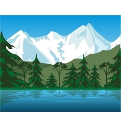Lake in mountain vector