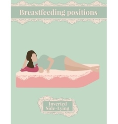 Breastfeeding position cute mother and baby vector image