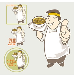 Asian chef acting present clean food good taste vector