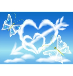 Cloud hearts in the sky vector image